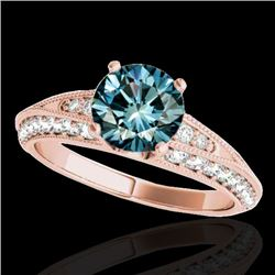 1.58 CTW SI Certified Blue Diamond Solitaire Antique Ring 10K Rose Gold - REF-172W8H - 34627