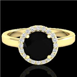 2 CTW Halo VS/SI Diamond Certified Micro Pave Ring Solitaire 18K Yellow Gold - REF-78Y8N - 21621