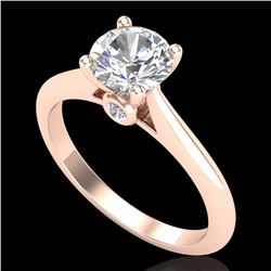 1.08 CTW VS/SI Diamond Solitaire Art Deco Ring 18K Rose Gold - REF-361F8M - 37287