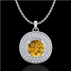 1.25 CTW Intense Fancy Yellow Diamond Art Deco Stud Necklace 18K White Gold - REF-161W8H - 38141