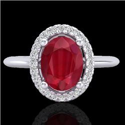 2 CTW Ruby & Micro Pave VS/SI Diamond Ring Solitaire Halo 18K White Gold - REF-56N9Y - 21018