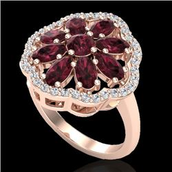 3 CTW Garnet & VS/SI Diamond Certified Cluster Designer Halo Ring 10K Rose Gold - REF-52W2H - 20781