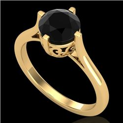 1.25 CTW Fancy Black Diamond Solitaire Engagement Art Deco Ring 18K Yellow Gold - REF-81X8T - 38061