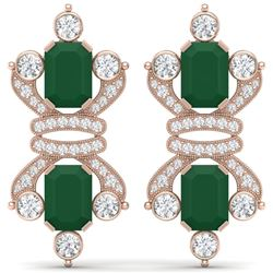 27.36 CTW Royalty Emerald & VS Diamond Earrings 18K Rose Gold - REF-600K2R - 38761