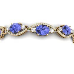 20.5 CTW Royalty Tanzanite & VS Diamond Bracelet 18K Yellow Gold - REF-527H3W - 38969