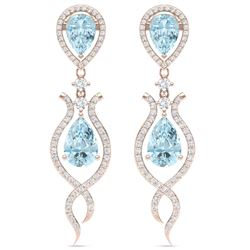16.57 CTW Royalty Sky Topaz & VS Diamond Earrings 18K Rose Gold - REF-290W9H - 39520