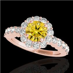 1.75 CTW Certified Si Fancy Intense Yellow Diamond Solitaire Halo Ring 10K Rose Gold - REF-180T2X -