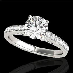 1.5 CTW H-SI/I Certified Diamond Solitaire Ring 10K White Gold - REF-172R8K - 34862