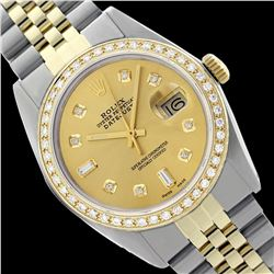 Rolex Men's Two Tone 14K Gold/SS , QuickSet, Diamond Dial & Diamond Bezel  - REF-480R2Z