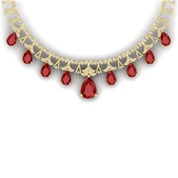 56.94 CTW Royalty Ruby & VS Diamond Necklace 18K Yellow Gold - REF-1236F4M - 38705