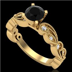 1.01 CTW Fancy Black Diamond Solitaire Engagement Art Deco Ring 18K Yellow Gold - REF-87N3Y - 38271