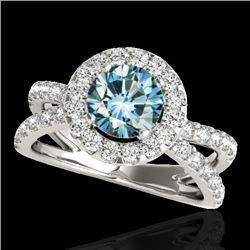 2.01 CTW SI Certified Fancy Blue Diamond Solitaire Halo Ring 10K White Gold - REF-209K3R - 34030