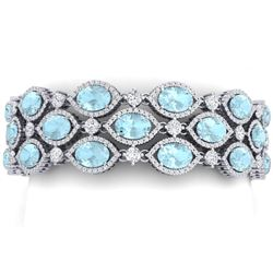 53.84 CTW Royalty Sky Topaz & VS Diamond Bracelet 18K White Gold - REF-1018M2F - 38898