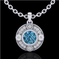 1.01 CTW Fancy Intense Blue Diamond Solitaire Art Deco Necklace 18K White Gold - REF-140F2M - 37705