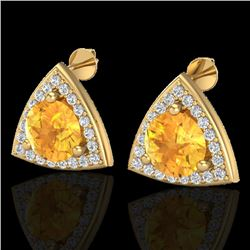 3 CTW Citrine & Micro Pave Halo VS/SI Diamond Stud Earrings 18K Yellow Gold - REF-62K8R - 20186