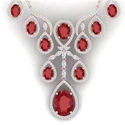 37.66 CTW Royalty Ruby & VS Diamond Necklace 18K Rose Gold - REF-963R6K - 38560