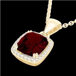 3 CTW Garnet & Micro VS/SI Diamond Pave Halo Solitaire Necklace 18K Yellow Gold - REF-48F5M - 22825