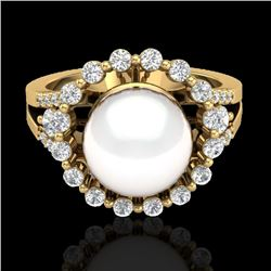 0.83 Ct Micro Pave VS/SI Diamond Certified & Pearl Halo Ring 18K Yellow Gold - REF-83T8X - 20707