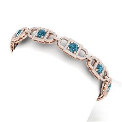 9 CTW Si/I Fancy Blue And White Diamond Bracelet 18K Rose Gold - REF-680K5R - 40143