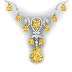 35.70 CTW Royalty Canary Citrine & VS Diamond Necklace 18K White Gold - REF-618T2X - 38601