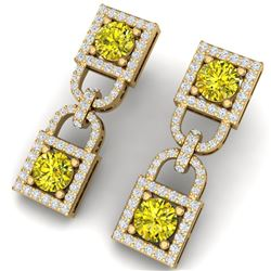 4 CTW Si/I Fancy Yellow And White Diamond Earrings 18K Yellow Gold - REF-300N2Y - 40165