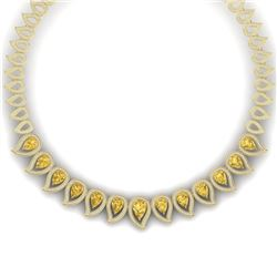 31.74 CTW Royalty Canary Citrine & VS Diamond Necklace 18K Yellow Gold - REF-1145X5T - 39449