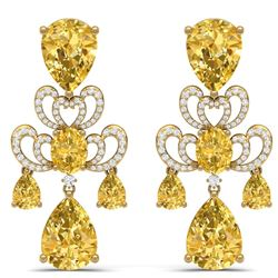 55.89 CTW Royalty Canary Citrine & VS Diamond Earrings 18K Yellow Gold - REF-381F8M - 38684