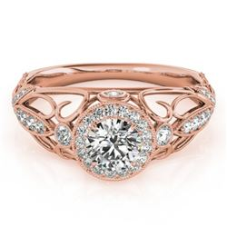 0.93 CTW Certified VS/SI Diamond Solitaire Antique Ring 18K Rose Gold - REF-154Y2N - 27328
