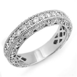 1.10 CTW Certified VS/SI Diamond Band 18K White Gold - REF-127M3F - 14314