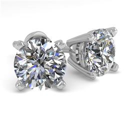 1.53 CTW VS/SI Diamond Stud Designer Earrings 14K White Gold - REF-300R2K - 30592