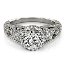 1.25 CTW Certified VS/SI Diamond Solitaire Halo Ring 18K White Gold - REF-238M2F - 26572