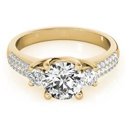 1.25 CTW Certified VS/SI Diamond 3 Stone Micro Pave Ring 18K Yellow Gold - REF-225F3M - 28022