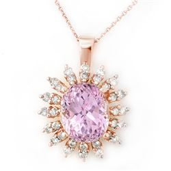 8.68 CTW Kunzite & Diamond Necklace 14K Rose Gold - REF-138K8R - 10343