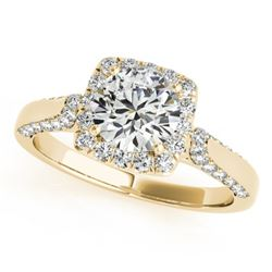 1.08 CTW Certified VS/SI Diamond Solitaire Halo Ring 18K Yellow Gold - REF-140X2T - 26247