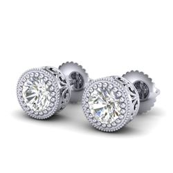 1.09 CTW VS/SI Diamond Solitaire Art Deco Stud Earrings 18K White Gold - REF-180Y2N - 36887