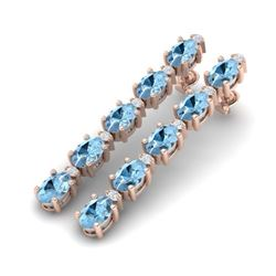 12.47 CTW Aquamarine & VS/SI Certified Diamond Tennis Earrings 10K Rose Gold - REF-126W5H - 29473