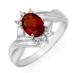 1.04 CTW Garnet & Diamond Ring 18K White Gold - REF-27X6T - 12511