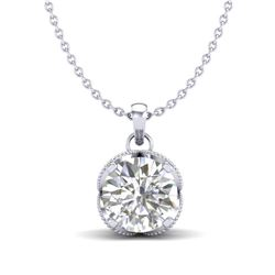 1.13 CTW VS/SI Diamond Solitaire Art Deco Stud Necklace 18K White Gold - REF-217F3M - 36863