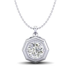0.75 CTW VS/SI Diamond Solitaire Art Deco Stud Necklace 18K White Gold - REF-180R2K - 37097
