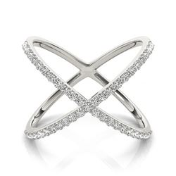0.55 CTW Certified VS/SI Diamond Designer Fashion Ring 18K White Gold - REF-81R3K - 28260