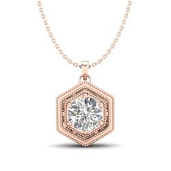 0.76 CTW VS/SI Diamond Solitaire Art Deco Stud Necklace 18K Rose Gold - REF-178H2W - 36903