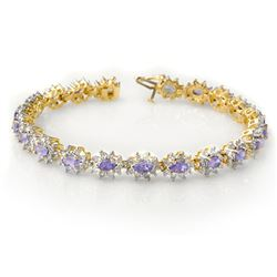 10.0 CTW Tanzanite & Diamond Bracelet 14K Yellow Gold - REF-345N5Y - 14445