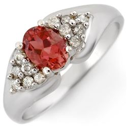 0.90 CTW Pink Tourmaline & Diamond Ring 18K White Gold - REF-49X3T - 10812