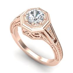 0.84 CTW VS/SI Diamond Solitaire Art Deco Ring 18K Rose Gold - REF-236M4F - 37092