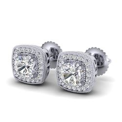 1.25 CTW Cushion Cut VS/SI Diamond Art Deco Stud Earrings 18K White Gold - REF-218T2X - 37034