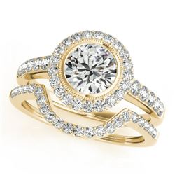 1.91 CTW Certified VS/SI Diamond 2Pc Wedding Set Solitaire Halo 14K Yellow Gold - REF-414T2X - 31282