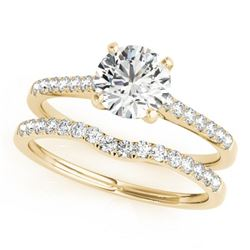 0.85 CTW Certified VS/SI Diamond Solitaire 2Pc Wedding Set 14K Yellow Gold - REF-126N2Y - 31738