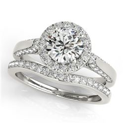 1.54 CTW Certified VS/SI Diamond 2Pc Wedding Set Solitaire Halo 14K White Gold - REF-227F8M - 30828