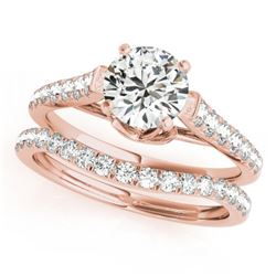 1.58 CTW Certified VS/SI Diamond Solitaire 2Pc Wedding Set 14K Rose Gold - REF-222N9Y - 31683