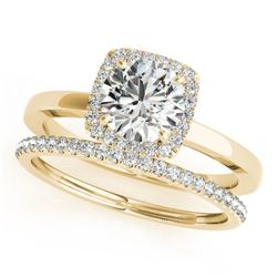 0.83 CTW Certified VS/SI Diamond 2Pc Wedding Set Solitaire Halo 14K Yellow Gold - REF-124F4M - 30731